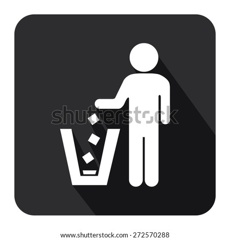 Black Square Dustbin, Litter Bin or Trash Can Long Shadow Style Icon, Label, Sticker, Sign or Banner Isolated on White Background - stock photo