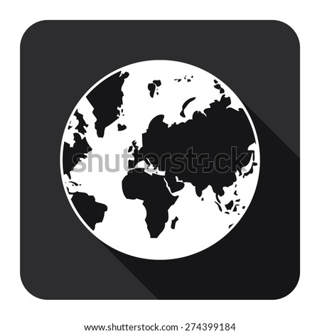 Black Square Earth Planet Flat Long Shadow Style Icon, Label, Sticker, Sign or Banner Isolated on White Background - stock photo