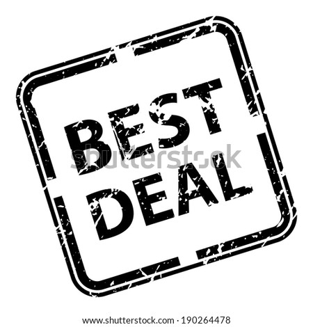Black Square Grunge Style Best Deal Rubber Stamp, Label or Sticker Isolated on White Background - stock photo