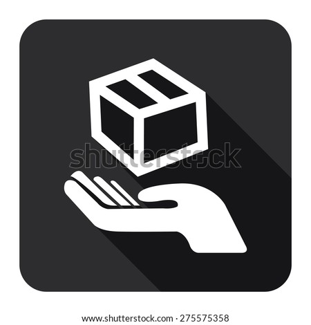 Black Square Hand With Box, Handle With Care, Do Not Drop Flat Long Shadow Style Icon, Label, Sticker, Sign or Banner Isolated on White Background - stock photo