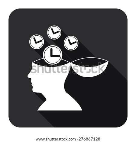 Black Square Head With Clock, Time Saving, Time Management Flat Long Shadow Style Icon, Label, Sticker, Sign or Banner Isolated on White Background - stock photo