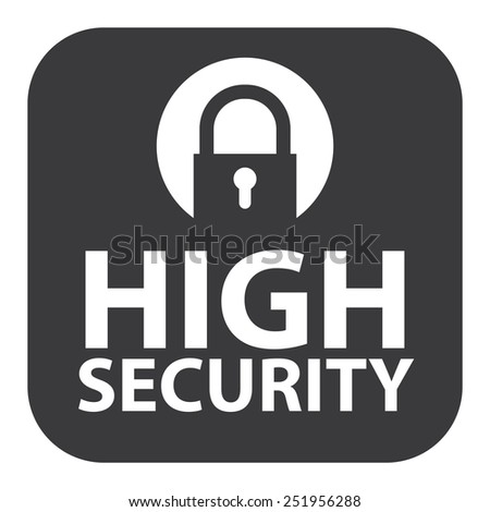 Black Square High Security Icon, Sign, Sticker or Label Isolated on White Background  - stock photo