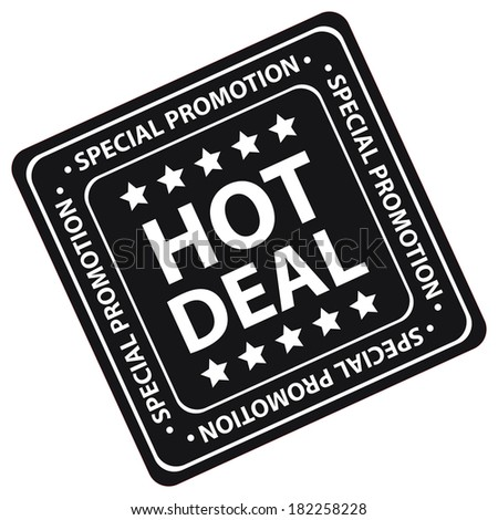 Black Square Hot Deal Special Promotion Icon, Label or Sticker Isolated on White Background  - stock photo