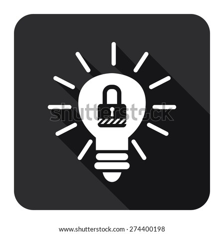 Black Square Light Bulb With Key Lock  Sign Flat Long Shadow Style Icon, Label, Sticker, Sign or Banner Isolated on White Background - stock photo