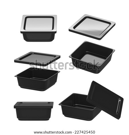 Black square plastic container for food production like fresh food, convenience food or frozen food. Template for  your design or artwork, clipping path included  - stock photo