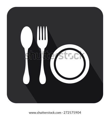 Black Square Restaurant, Bistro, Cafeteria or Food Center Long Shadow Style Icon, Label, Sticker, Sign or Banner Isolated on White Background - stock photo
