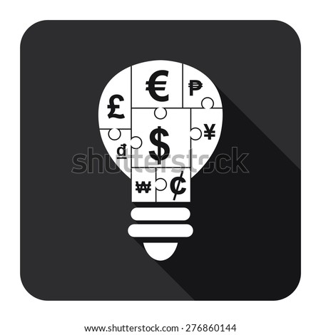 Black Square Various Currency Sign Puzzle in Light Bulb Flat Long Shadow Style Icon, Label, Sticker, Sign or Banner Isolated on White Background - stock photo