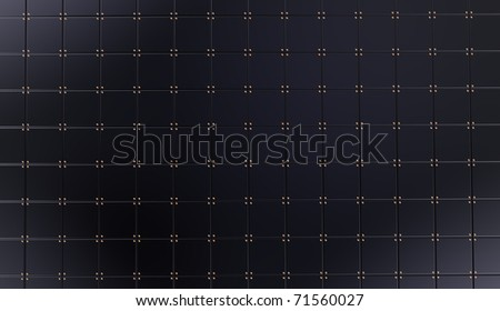 Black squares with rivets on a background