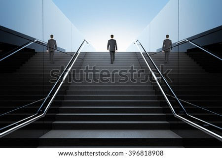 Black stairs in pedestrian subway with businessman and clear blue skies with sunshine. 3D Render - stock photo