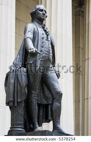 Black statue of georges Washington. Vertical shot. - stock photo