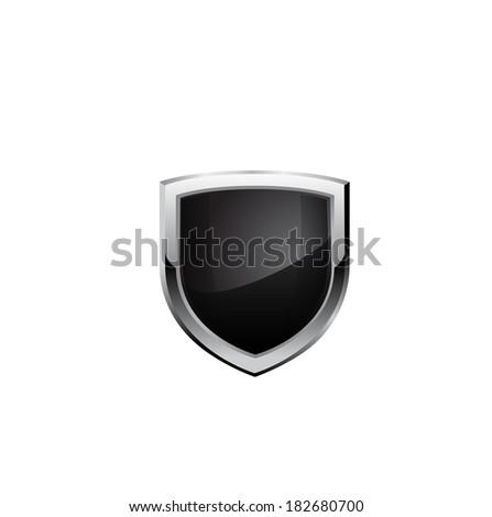 Black steel shield. Raster copy. - stock photo