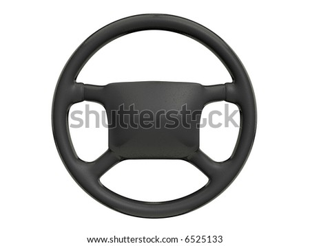 Black steering wheel isolated on white background - rendered in 3d