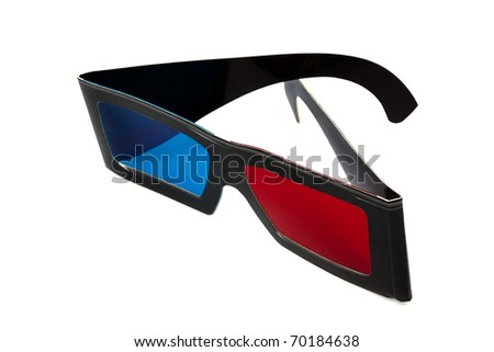 black stereo glasses on a white background