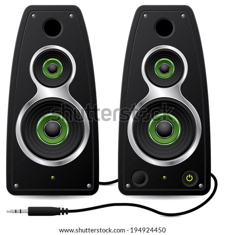 Black stereo speaker set with plug on white - stock photo