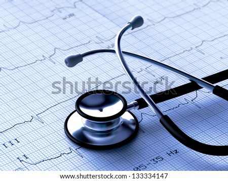 Black stethoscope and electrocardiogram (3D render)