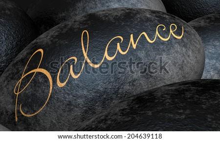 Black stone concept - Balance - stock photo