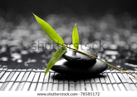 Black stones and green bamboo on mat - stock photo