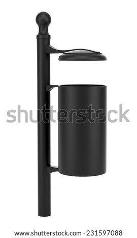 black street garbage bin isolated on white background
