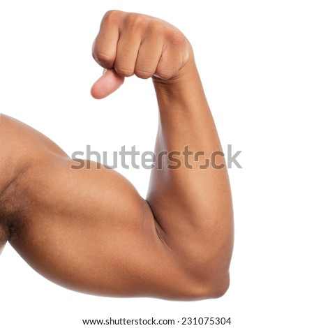 black strong arm and biceps - stock photo