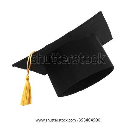 Black student hat, isolated on white - stock photo