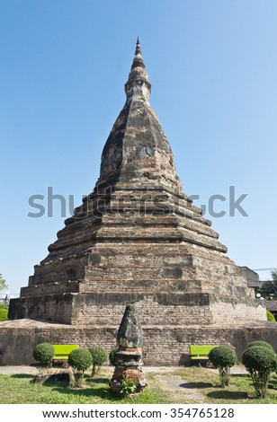 Black Stupa . Thanon Bartholomie . The mythical abode of a seven-headed dragon that protects Vientiane.