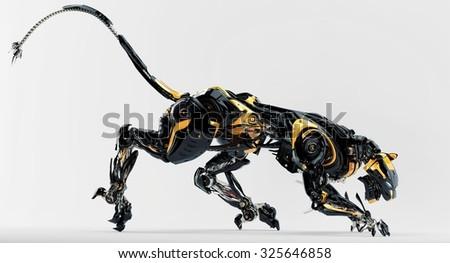 Black stylish robotic cat predator 3d render - stock photo