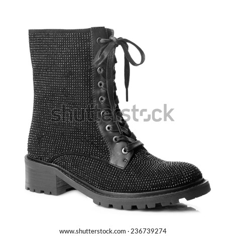 Black suede  high boot isolated on white background. - stock photo