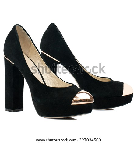 Black suede high heel shoes isolated on white background.Side view.