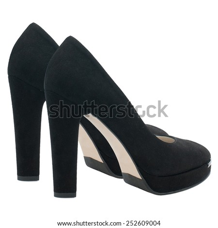 Black suede high heel women shoes isolated on white background. - stock photo