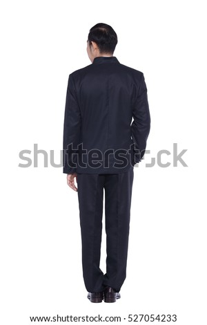 Black Suit Businessman standing with back to the camera or from behind, black pant white shirt, isolated on studio lighting white background