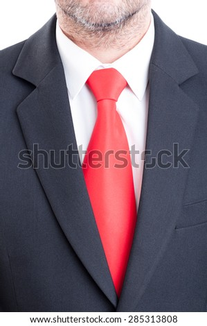 Black suit, red tie, and white shirt. Business manager concept - stock photo