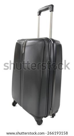 Black suitcase isolated on white - stock photo