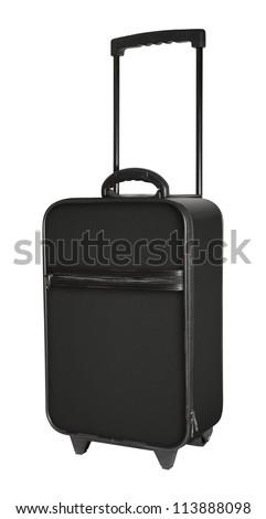 Black suitcase on white background - stock photo