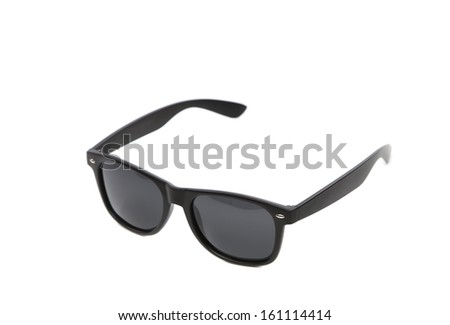 Black sun glasses. Isolated on a white background. - stock photo