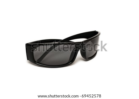 Black sunglasses over white background