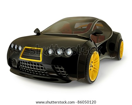 black supercar isolated on a white background