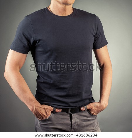 black T-shirt - stock photo