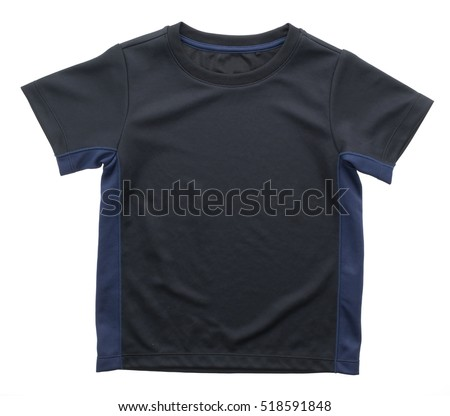 Black T shirt for clothing isolated on white background