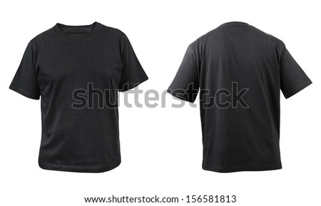 Black t-shirt front and back view. Isolated on a white background.