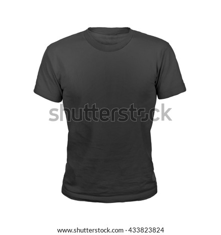 Black T-shirt isolated on white background