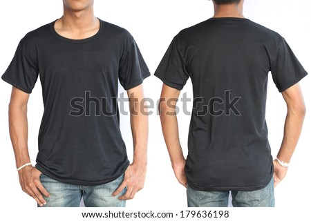 Black t-shirt on a young man template isolated on white background back and front - stock photo