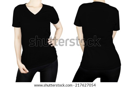 Black T - shirt on woman body with front and back side isolated on white background. - stock photo