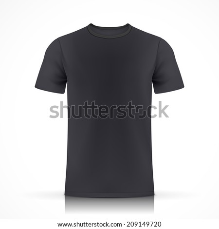 black T-shirt template  isolated on white background - stock photo