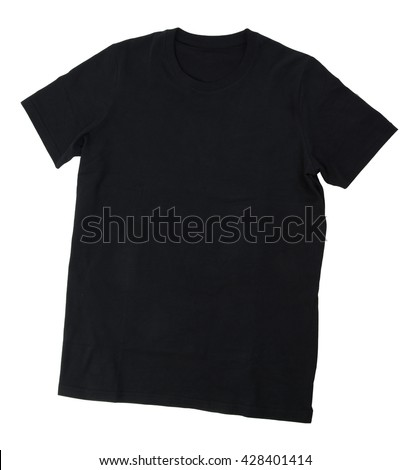 Black T-shirt template isolated on white background with clipping path.