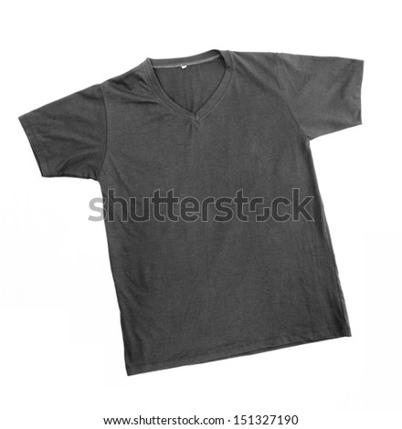 black t-shirt template ready for further modification isolated on white with working path - stock photo