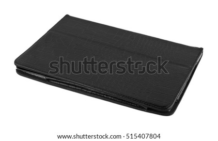 black tablet case isolated on white background closeup