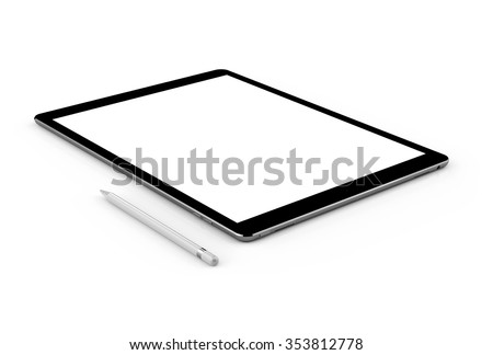 Black tablet computer and pen, isolated on white background. Whole render in focus. - stock photo