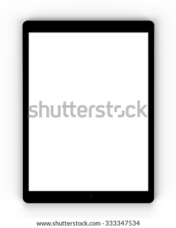 Black tablet computer isolated on white background, with blank screen mockup, isolated. Whole render in focus. - stock photo