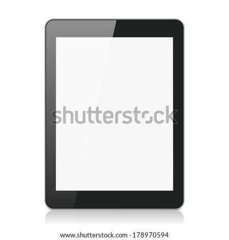 Black Tablet Computer or Reader on White Background - stock photo