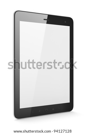 Black tablet computer (tablet pc) on white background.  Modern portable touch pad device with blank screen. - stock photo